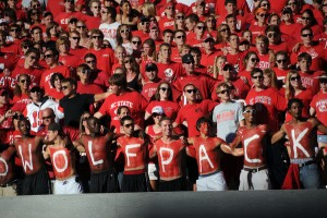 NC State students get pumped up for the Pack before the WCU football game. PHOTO BY ROGER WINSTEAD